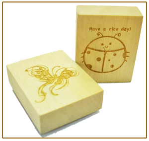 Wood Mounted Holder Red Rubber Stamp