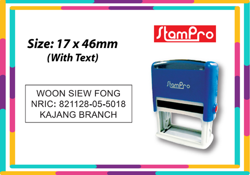 Self Inking Stamp 030  Size: (17mm x 46mm)