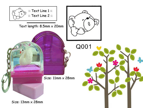 Q001 Stamp Size: 13mm x 28mm