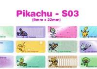 S03 100 pcs Pikachu Sticker:(9mm x 22mm)