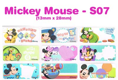 S07 100 pcs Mickey Mouse Sticker: (13mm x 28mm)
