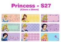 S27 100 pcs Princess Sticker: (13mm x 28mm)