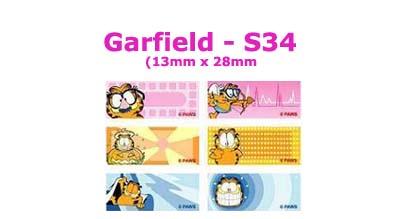 S34 100 pcs Garfield Sticker:(13mm x 28mm)