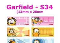S34 100 pcs Garfield Sticker:(13mm x 28mm)