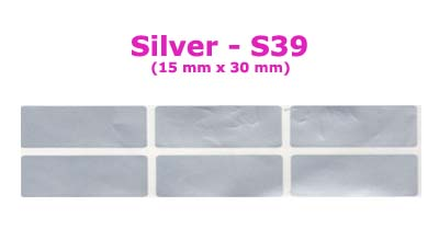 S39 100 pcs Silver Sticker:(15mm x 30mm)