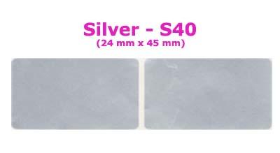 S40 100 pcs Silver Sticker:(24mm x 45mm)