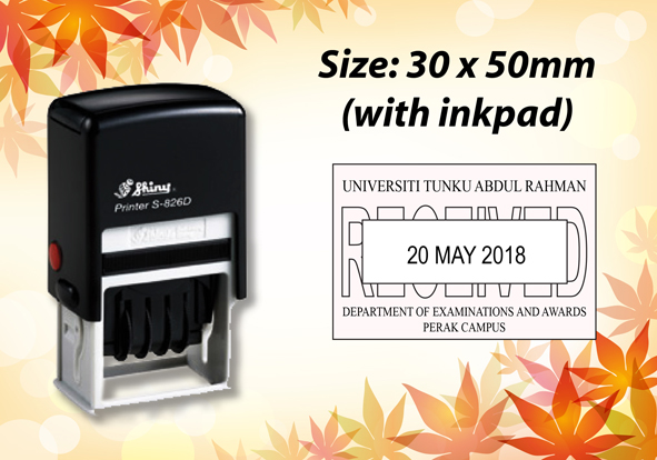 Self Inking Dater Size: (30mm x 50mm)
