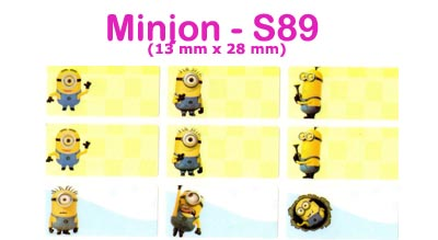 S89 100 pcs Minion Sticker : (13mm x 28mm)